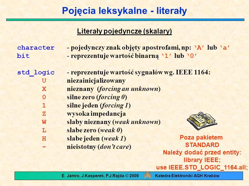 Pojęcia leksykalne - literały Literały pojedyncze (skalary) character - pojedynczy znak objęty apostrofami, np: 'A' lub 'a' bit - reprezentuje wartość
