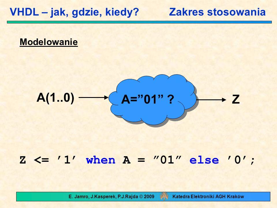 """VHDL – jak, gdzie, kiedy? Zakres stosowania Modelowanie A=""""01"""" ? A(1..0) Z Z <= '1' when A = """"01"""" else '0'; E. Jamro, J.Kasperek, P.J.Rajda © 2009 Kat"""