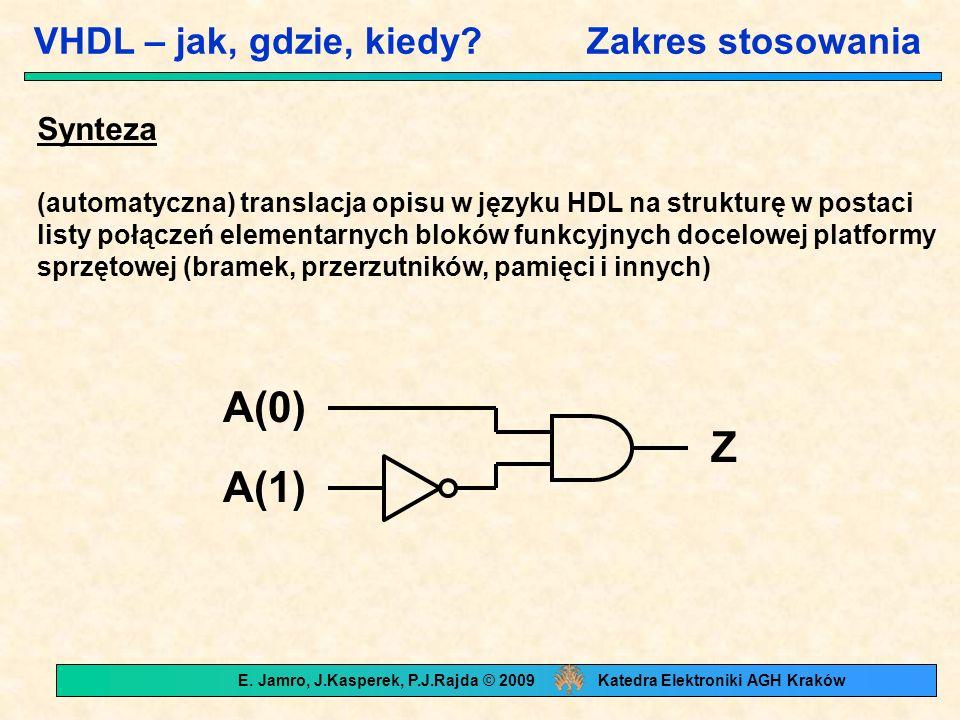 Process / brak process Powielanie logiki entity loop_stmt is port (a: bit_vector (3 downto 0); m: out bit_vector (3 downto 0)); end loop_stmt; architecture example1 of loop_stmt is signal b: bit_vector(3 downto 0); begin b(0)<= a(0); label: for i in 1 to 3 generate b(i)<= b(i-1) and a(3-i); end generate; m<= b; end example1; architecture example2 of loop_stmt is begin process (a) variable b: bit; begin b := 1 ; for i in 0 to 3 loop b := a(3-i) and b; m(i) <= b; end loop; end process; end example2;