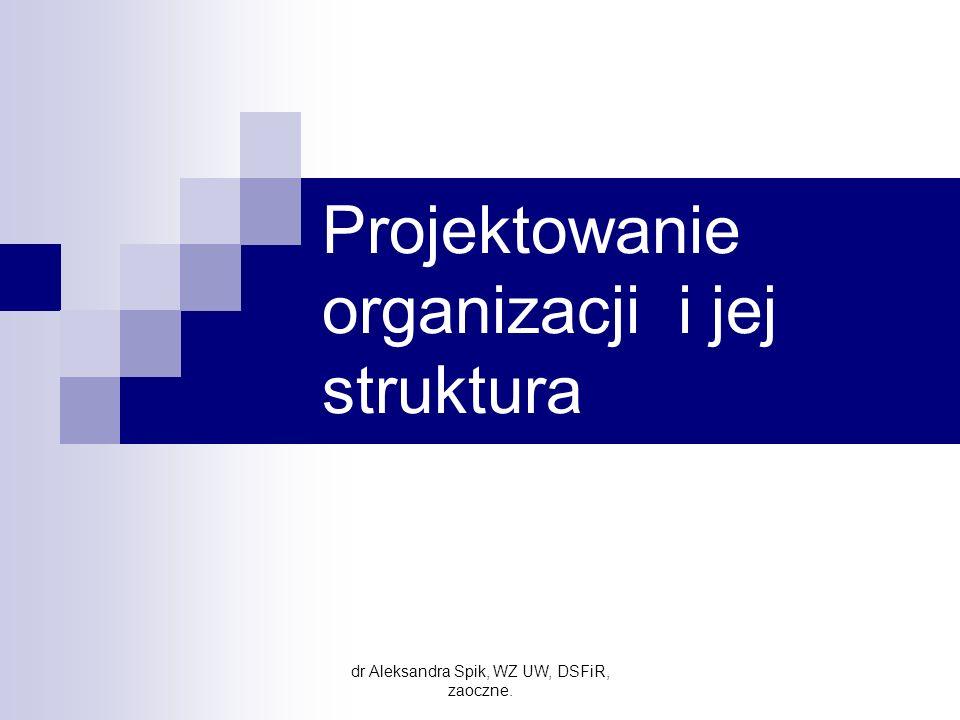 Uwarunkowania struktury organizacyjnej STRATEGIA HISTORIA I KULTURA TECHNOLOGIA OTOCZENIE WIEK I WIELKOŚĆ ORGANIZACJI RELACJE WŁADZY STRUKTURA dr Aleksandra Spik, WZ UW, DSRiR, zaoczne.