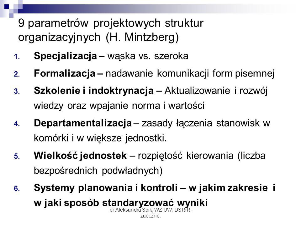 9 parametrów projektowych struktur organizacyjnych (H.