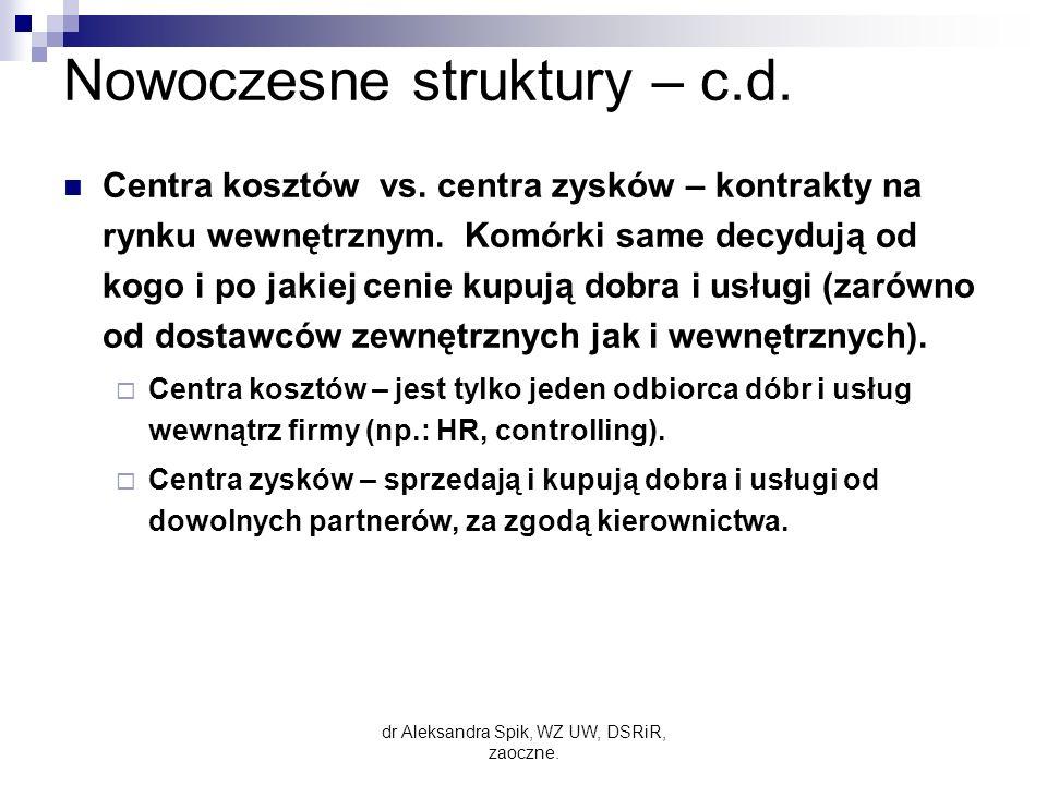 Nowoczesne struktury – c.d.Centra kosztów vs. centra zysków – kontrakty na rynku wewnętrznym.