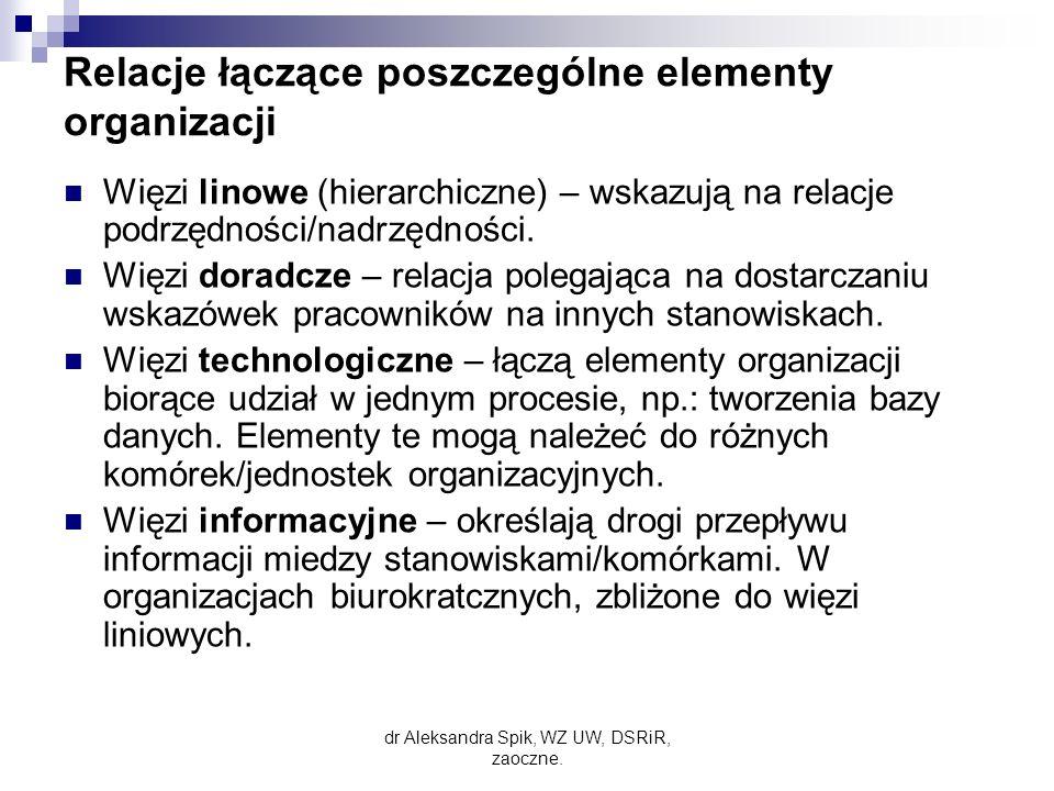 Relacje łączące poszczególne elementy organizacji Więzi linowe (hierarchiczne) – wskazują na relacje podrzędności/nadrzędności.