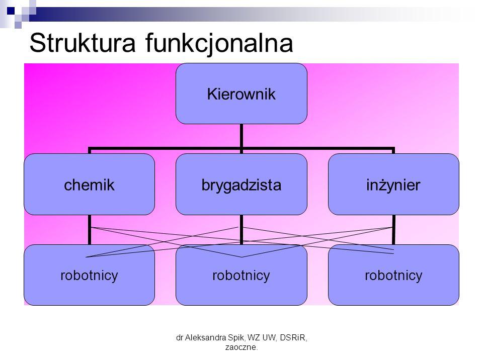 Struktura funkcjonalna Kierownik chemik robotnicy brygadzista robotnicy inżynier robotnicy dr Aleksandra Spik, WZ UW, DSRiR, zaoczne.