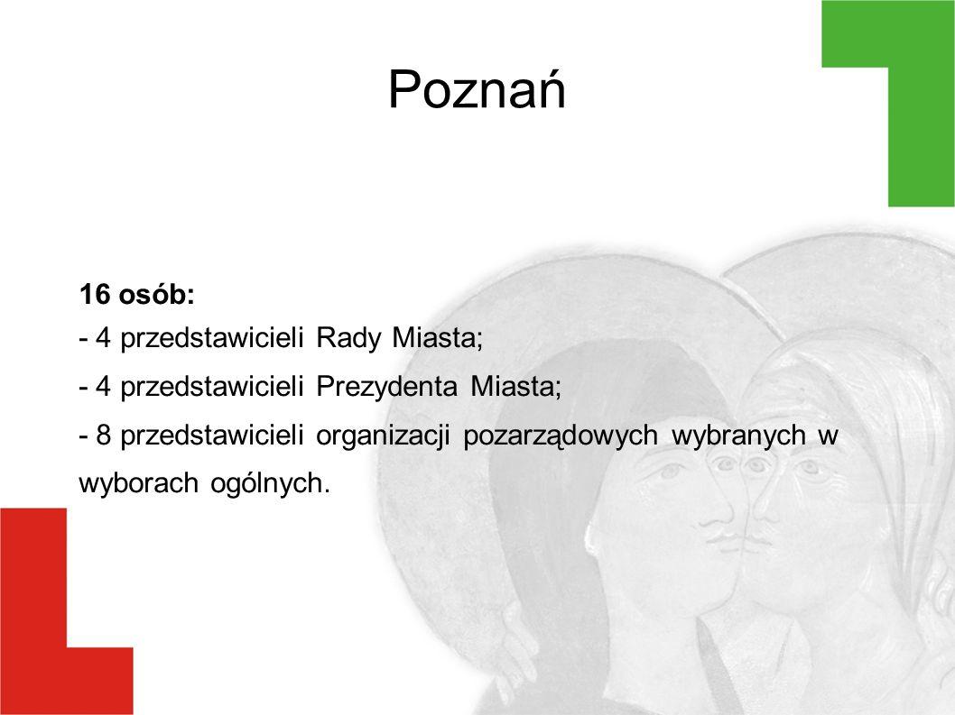 Poznań 16 osób: - 4 przedstawicieli Rady Miasta; - 4 przedstawicieli Prezydenta Miasta; - 8 przedstawicieli organizacji pozarządowych wybranych w wyborach ogólnych.