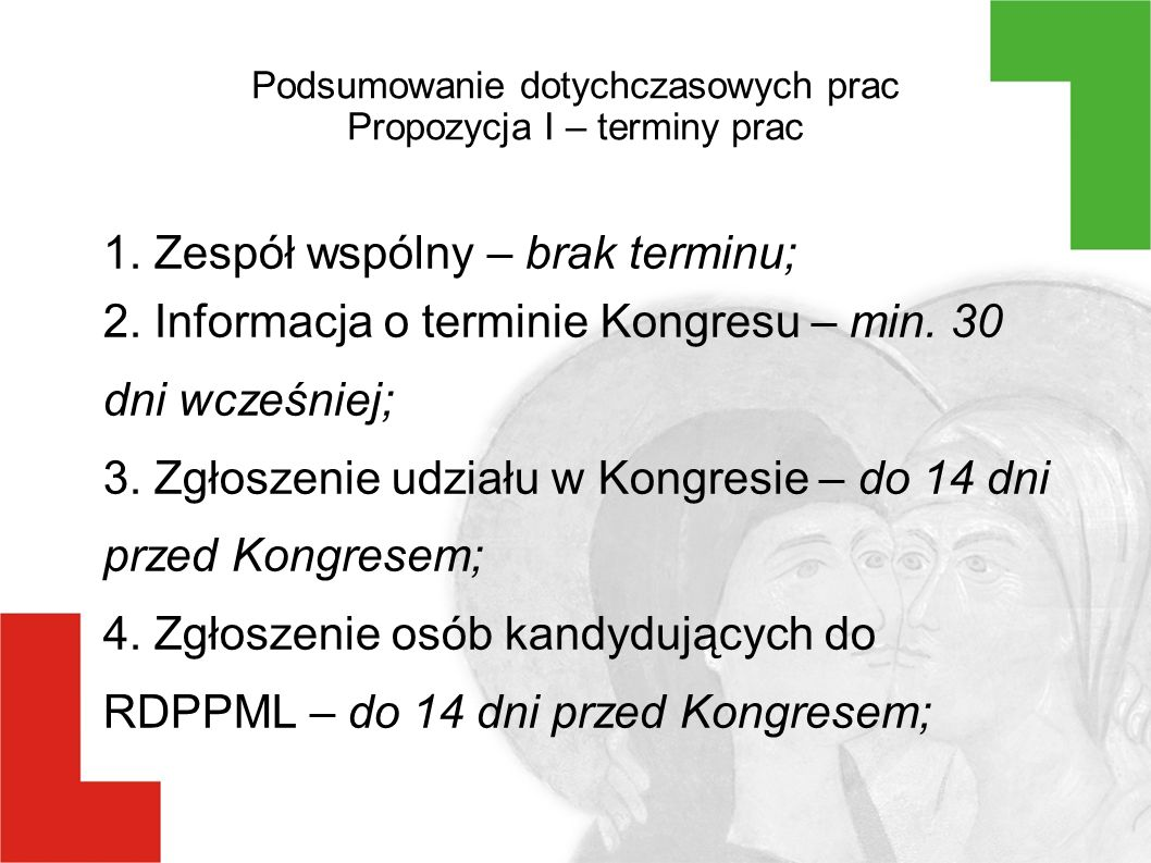 Podsumowanie dotychczasowych prac Propozycja II Komisja wyborcza złożona z 5 przedstawicieli ngo i 5 Prezydenta Zgłoszenia kandydatów ze wskazaniem branży Branżowa lista kandydatów Głosowanie w lokalu wyborczym Zgłoszenia organizacji ze wskazaniem branży Prezydent powołuje wybrane osoby do RDPPML Branżowa lista organizacji