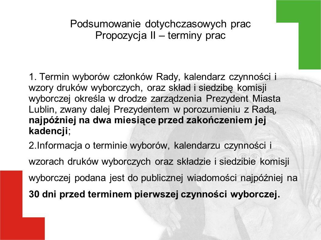 Podsumowanie dotychczasowych prac Propozycja II – terminy prac 1.