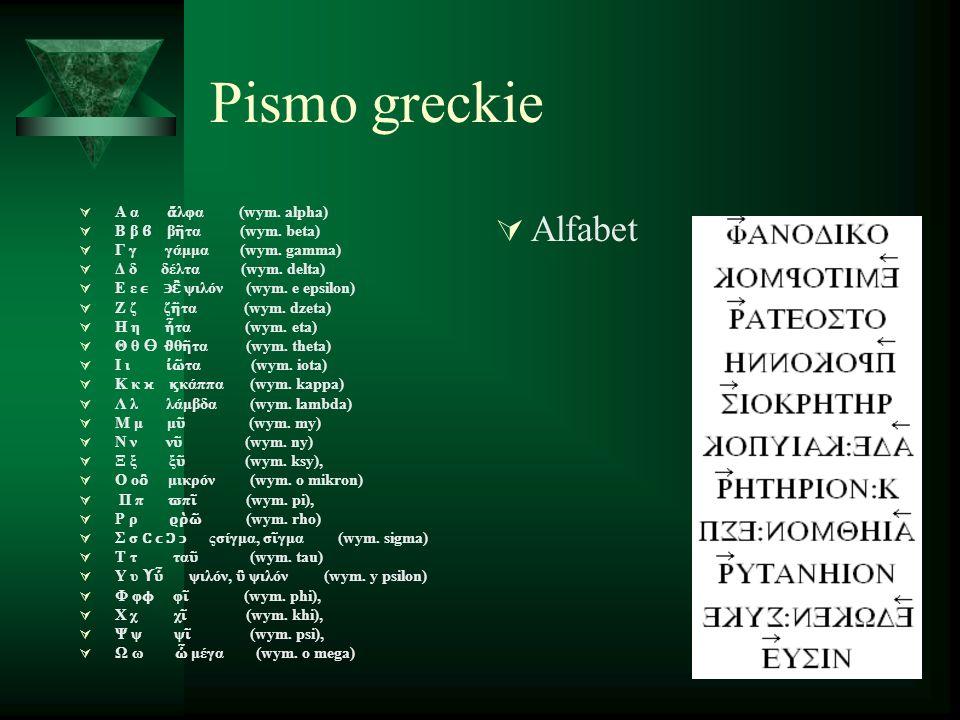 Pismo greckie  Α α ἄ λφα (wym. alpha)  Β β ϐ β ῆ τα (wym.