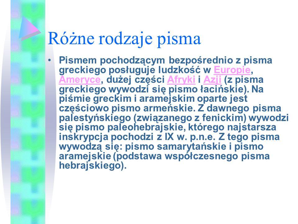 Różne rodzaje pisma Pismem pochodzącym bezpośrednio z pisma greckiego posługuje ludzkość w Europie, Ameryce, dużej części Afryki i Azji (z pisma greckiego wywodzi się pismo łacińskie).