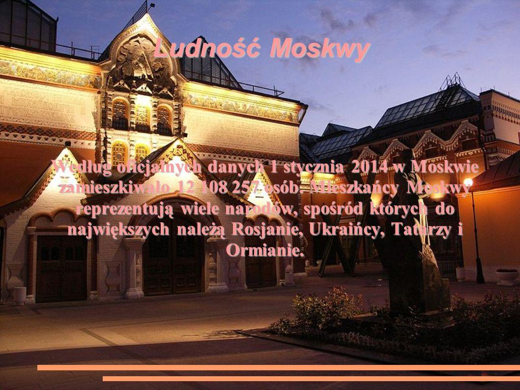 Ludność Moskwy Według oficjalnych danych 1 stycznia 2014 w Moskwie zamieszkiwało 12 108 257 osób.