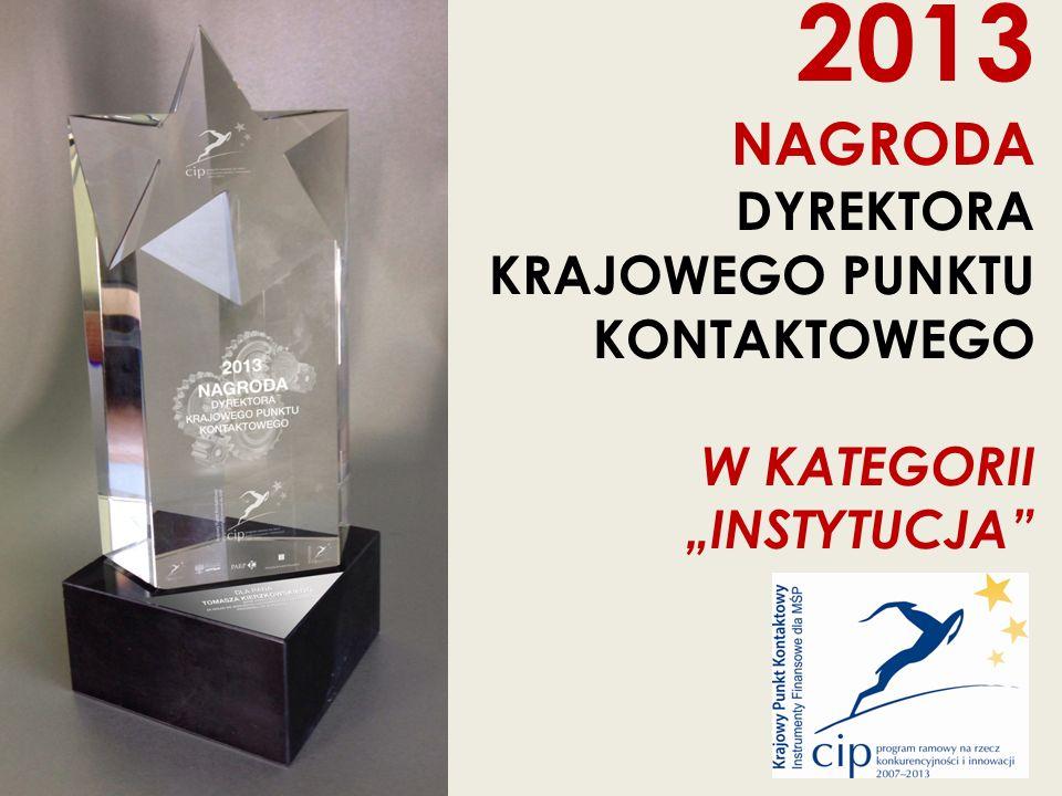 """2013 NAGRODA DYREKTORA KRAJOWEGO PUNKTU KONTAKTOWEGO W KATEGORII """"INSTYTUCJA"""