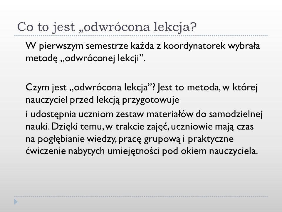 Lekcje w I semestrze: NauczycielTematyka lekcji p.