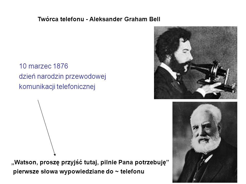 """Twórca telefonu - Aleksander Graham Bell 10 marzec 1876 dzień narodzin przewodowej komunikacji telefonicznej """"Watson, proszę przyjść tutaj, pilnie Pana potrzebuję pierwsze słowa wypowiedziane do ~ telefonu"""