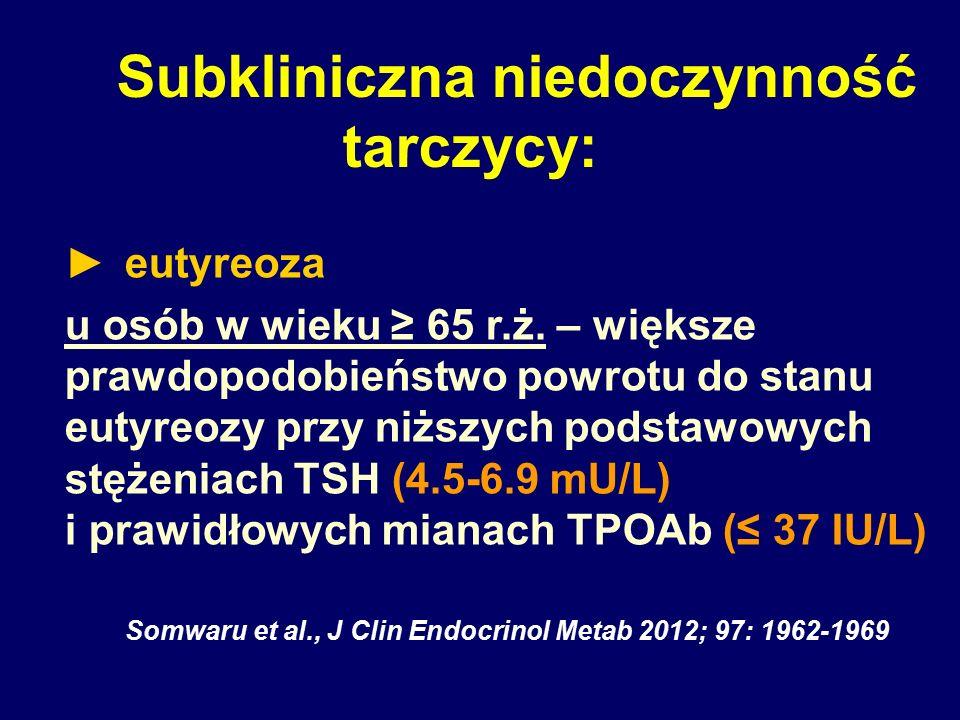 Subkliniczna niedoczynność tarczycy: ► eutyreoza u osób w wieku ≥ 65 r.ż. – większe prawdopodobieństwo powrotu do stanu eutyreozy przy niższych podsta