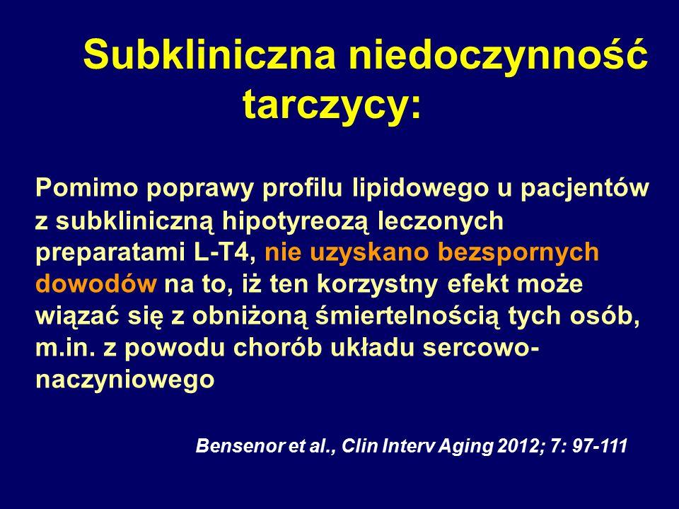 Subkliniczna niedoczynność tarczycy: Pomimo poprawy profilu lipidowego u pacjentów z subkliniczną hipotyreozą leczonych preparatami L-T4, nie uzyskano