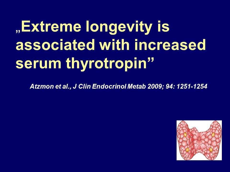 """ Extreme longevity is associated with increased serum thyrotropin"" Atzmon et al., J Clin Endocrinol Metab 2009; 94: 1251-1254"