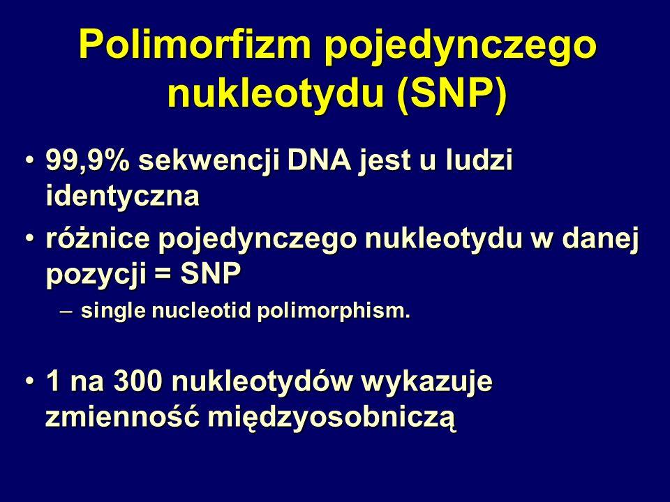 Polimorfizm pojedynczego nukleotydu (SNP) 99,9% sekwencji DNA jest u ludzi identyczna99,9% sekwencji DNA jest u ludzi identyczna różnice pojedynczego