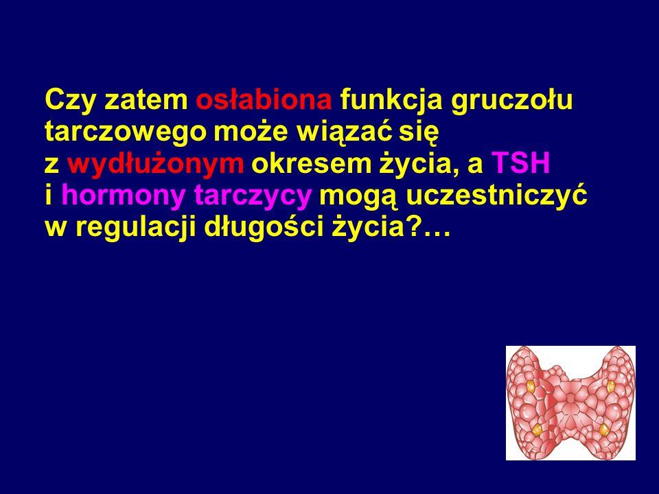 Czy zatem osłabiona funkcja gruczołu tarczowego może wiązać się z wydłużonym okresem życia, a TSH i hormony tarczycy mogą uczestniczyć w regulacji dłu