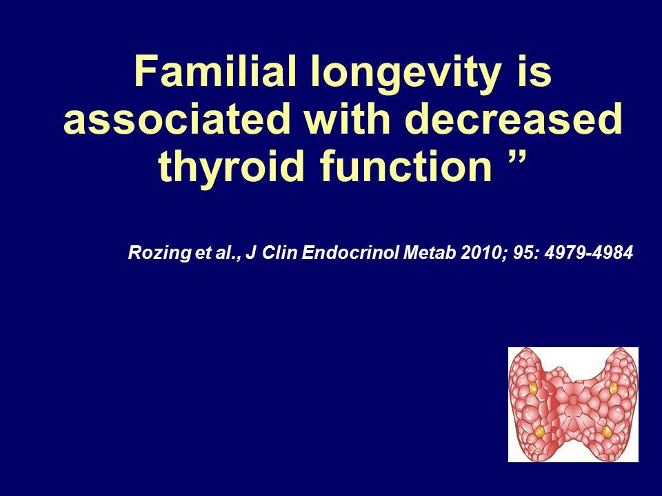 "Familial longevity is associated with decreased thyroid function "" Rozing et al., J Clin Endocrinol Metab 2010; 95: 4979-4984"