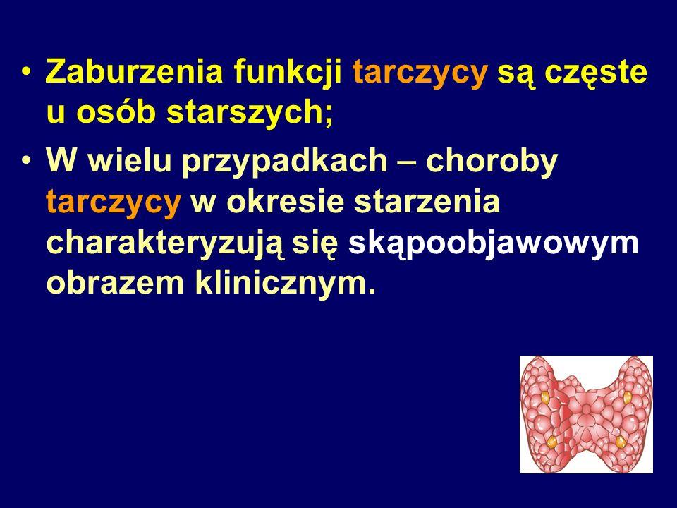 Częstsze występowanie zaburzeń funkcji tarczycy o charakterze subklinicznym w okresie starzenia Subkliniczna niedoczynność tarczycy Subkliniczna nadczynność tarczycy