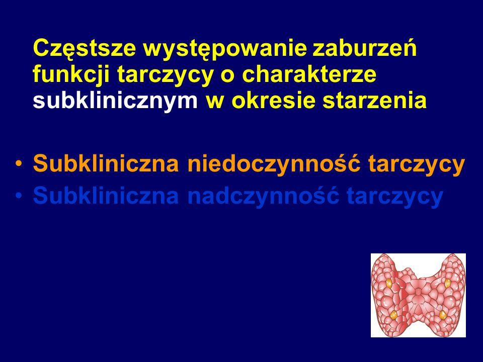 Subkliniczna niedoczynność tarczycy: Częstość występowania: 3 – 16% u osób w wieku ≥ 60 r.ż.
