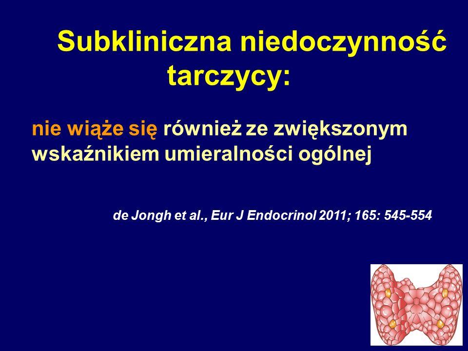 Subkliniczna niedoczynność tarczycy: nie wiąże się również ze zwiększonym wskaźnikiem umieralności ogólnej de Jongh et al., Eur J Endocrinol 2011; 165