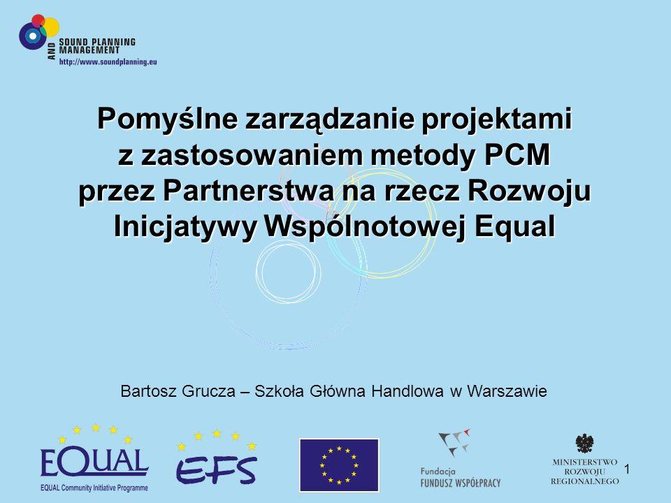 1 Pomyślne zarządzanie projektami z zastosowaniem metody PCM przez Partnerstwa na rzecz Rozwoju Inicjatywy Wspólnotowej Equal Bartosz Grucza – Szkoła