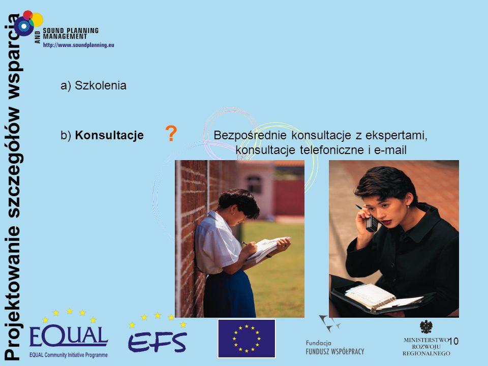 10 a) Szkolenia b) KonsultacjeBezpośrednie konsultacje z ekspertami, konsultacje telefoniczne i e-mail ? Projektowanie szczegółów wsparcia