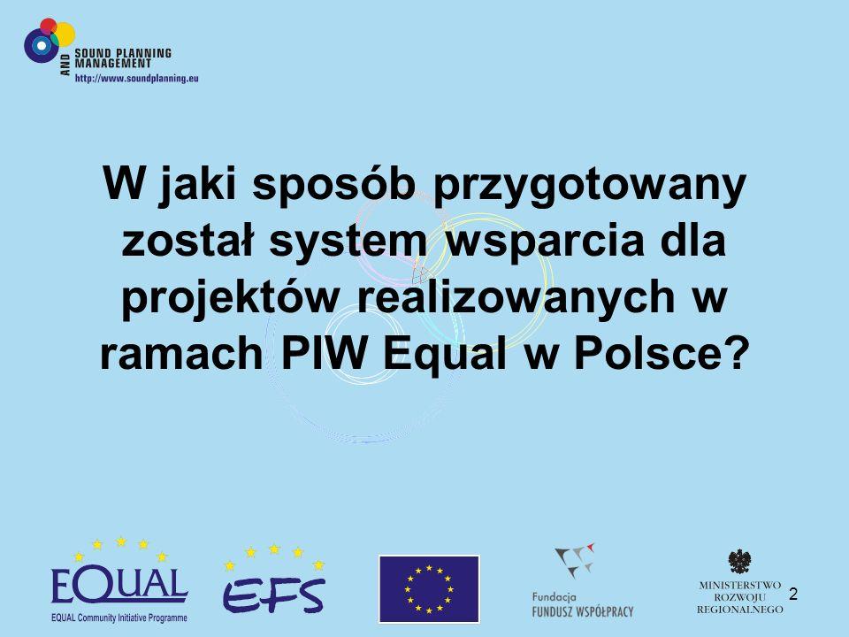 2 W jaki sposób przygotowany został system wsparcia dla projektów realizowanych w ramach PIW Equal w Polsce?