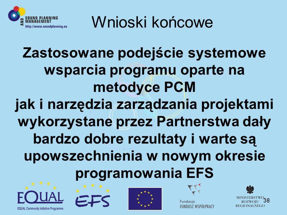 38 Wnioski końcowe Zastosowane podejście systemowe wsparcia programu oparte na metodyce PCM jak i narzędzia zarządzania projektami wykorzystane przez Partnerstwa dały bardzo dobre rezultaty i warte są upowszechnienia w nowym okresie programowania EFS