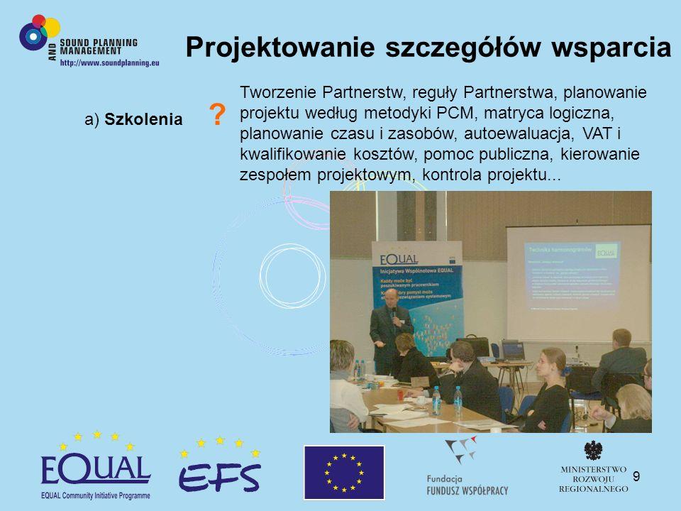 9 a) Szkolenia ? Projektowanie szczegółów wsparcia Tworzenie Partnerstw, reguły Partnerstwa, planowanie projektu według metodyki PCM, matryca logiczna