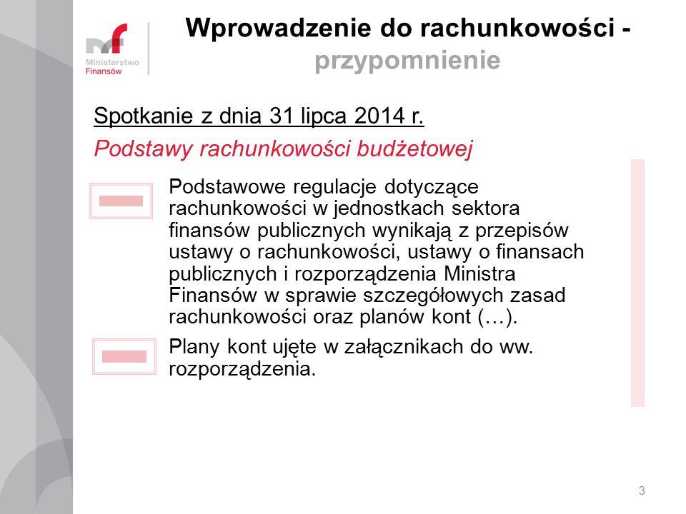 Wprowadzenie do rachunkowości - przypomnienie Spotkanie z dnia 31 lipca 2014 r. Podstawy rachunkowości budżetowej Podstawowe regulacje dotyczące rachu