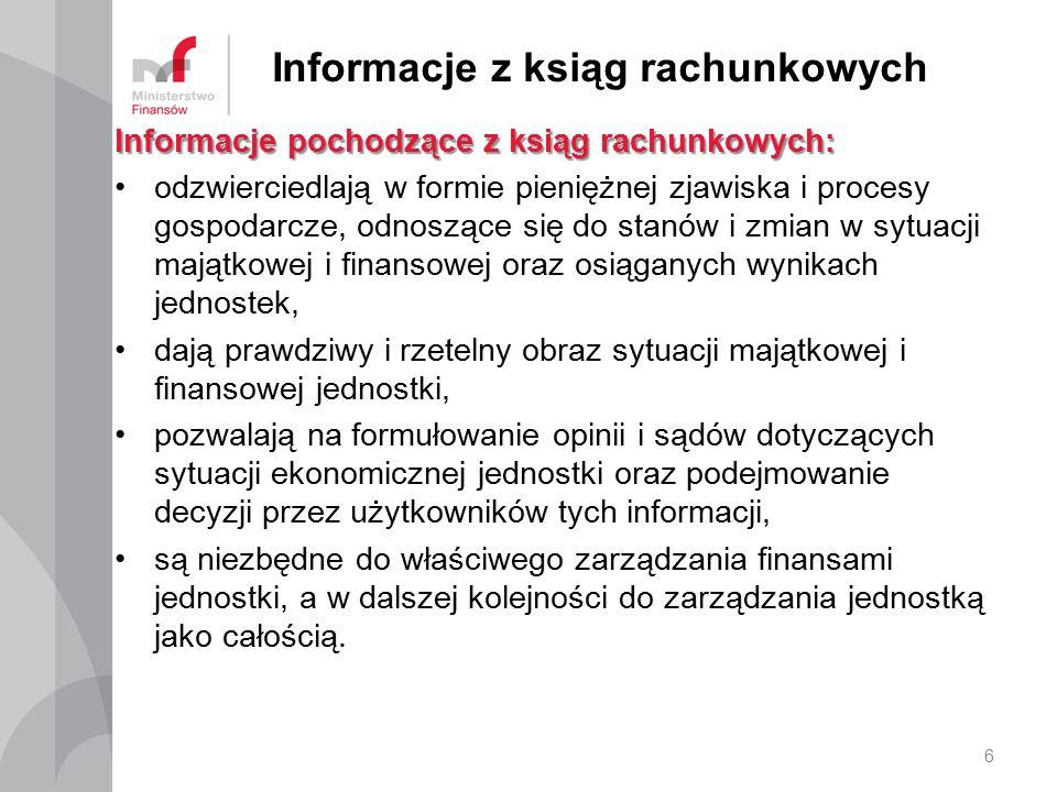 Informacje z ksiąg rachunkowych Informacje pochodzące z ksiąg rachunkowych: odzwierciedlają w formie pieniężnej zjawiska i procesy gospodarcze, odnosz