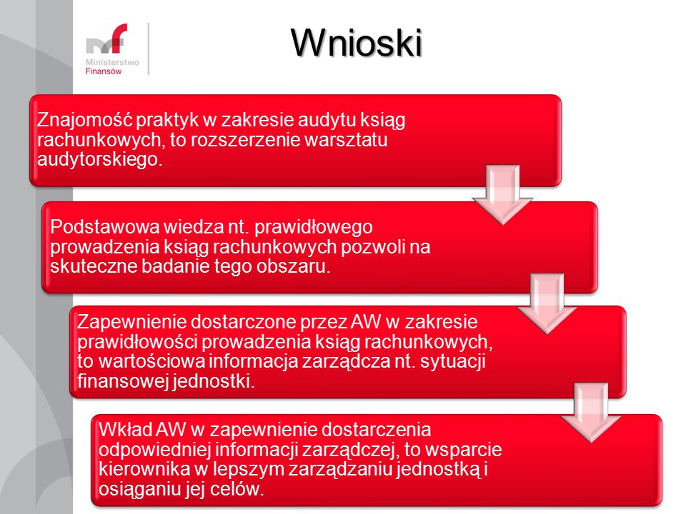 Wnioski 8 Znajomość praktyk w zakresie audytu ksiąg rachunkowych, to rozszerzenie warsztatu audytorskiego. Podstawowa wiedza nt. prawidłowego prowadze