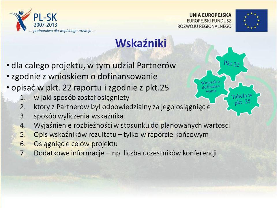 Stopka (tekst, tekst, tekst....) 10 Wskaźniki dla całego projektu, w tym udział Partnerów zgodnie z wnioskiem o dofinansowanie opisać w pkt.
