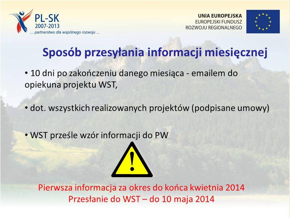 Stopka (tekst, tekst, tekst....) 16 Sposób przesyłania informacji miesięcznej 10 dni po zakończeniu danego miesiąca - emailem do opiekuna projektu WST, dot.