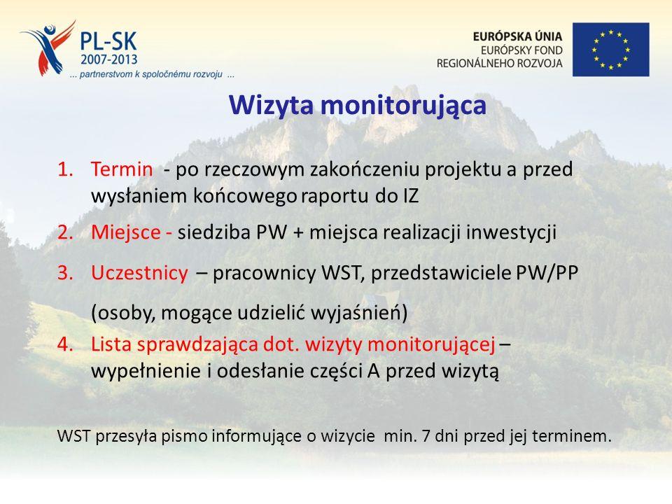 Stopka (tekst, tekst, tekst....) 18 Wizyta monitorująca 1.Termin - po rzeczowym zakończeniu projektu a przed wysłaniem końcowego raportu do IZ 2.Miejsce - siedziba PW + miejsca realizacji inwestycji 3.Uczestnicy – pracownicy WST, przedstawiciele PW/PP (osoby, mogące udzielić wyjaśnień) 4.Lista sprawdzająca dot.