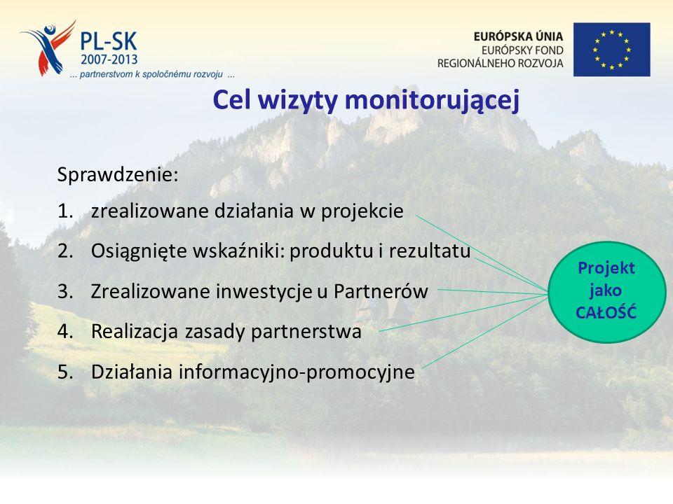 Stopka (tekst, tekst, tekst....) 19 Cel wizyty monitorującej Sprawdzenie: 1.zrealizowane działania w projekcie 2.Osiągnięte wskaźniki: produktu i rezultatu 3.Zrealizowane inwestycje u Partnerów 4.Realizacja zasady partnerstwa 5.Działania informacyjno-promocyjne Projekt jako CAŁOŚĆ