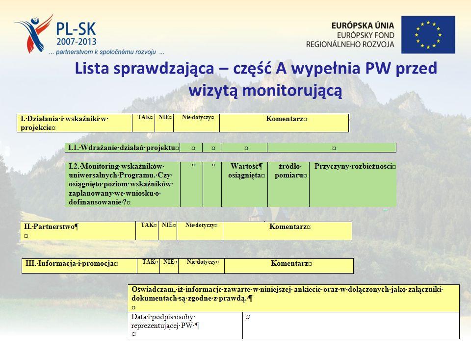 Stopka (tekst, tekst, tekst....) 21 Lista sprawdzająca – część A wypełnia PW przed wizytą monitorującą