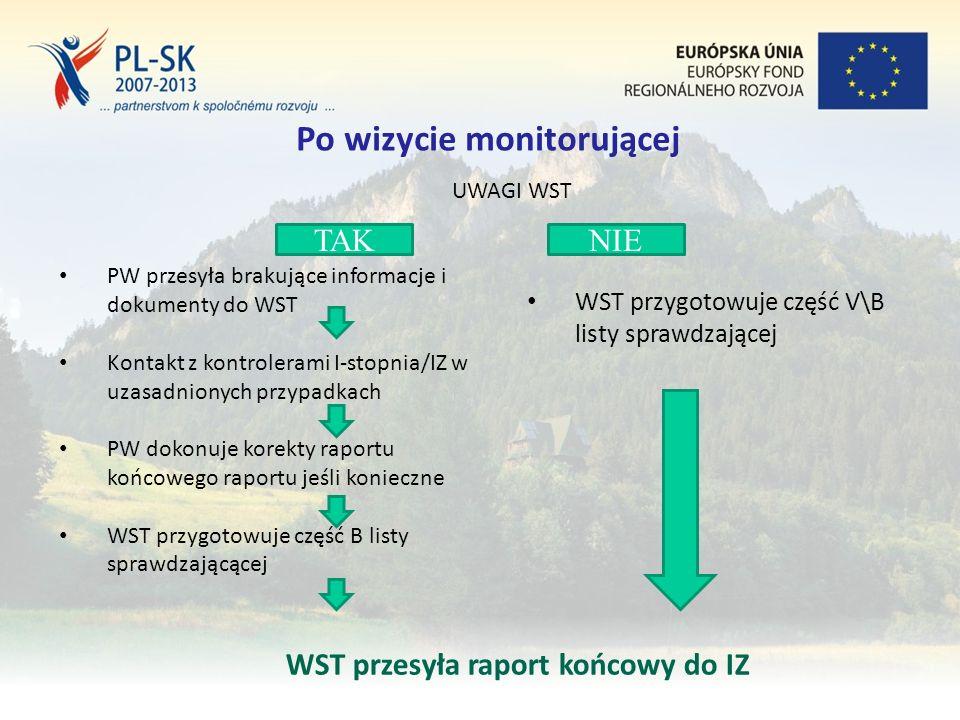 Stopka (tekst, tekst, tekst....) 23 Po wizycie monitorującej PW przesyła brakujące informacje i dokumenty do WST Kontakt z kontrolerami I-stopnia/IZ w uzasadnionych przypadkach PW dokonuje korekty raportu końcowego raportu jeśli konieczne WST przygotowuje część B listy sprawdzającącej WST przesyła raport końcowy do IZ WST przygotowuje część V\B listy sprawdzającej UWAGI WST TAKNIE