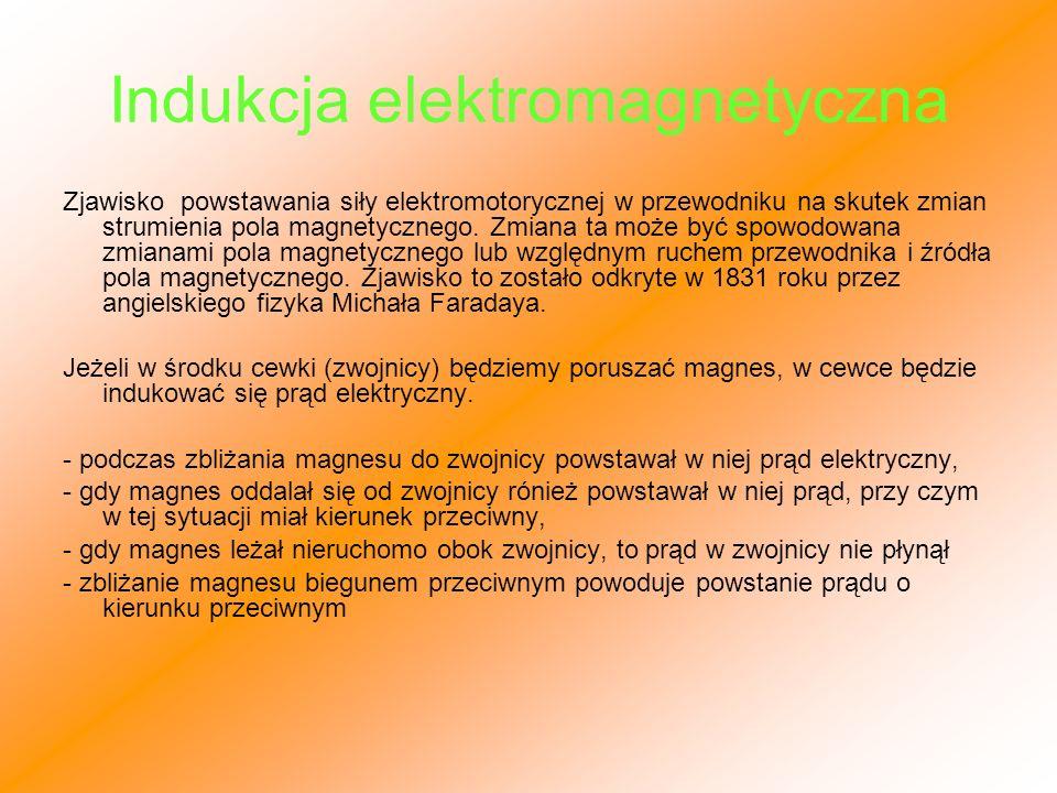 Indukcja elektromagnetyczna Zjawisko powstawania siły elektromotorycznej w przewodniku na skutek zmian strumienia pola magnetycznego. Zmiana ta może b