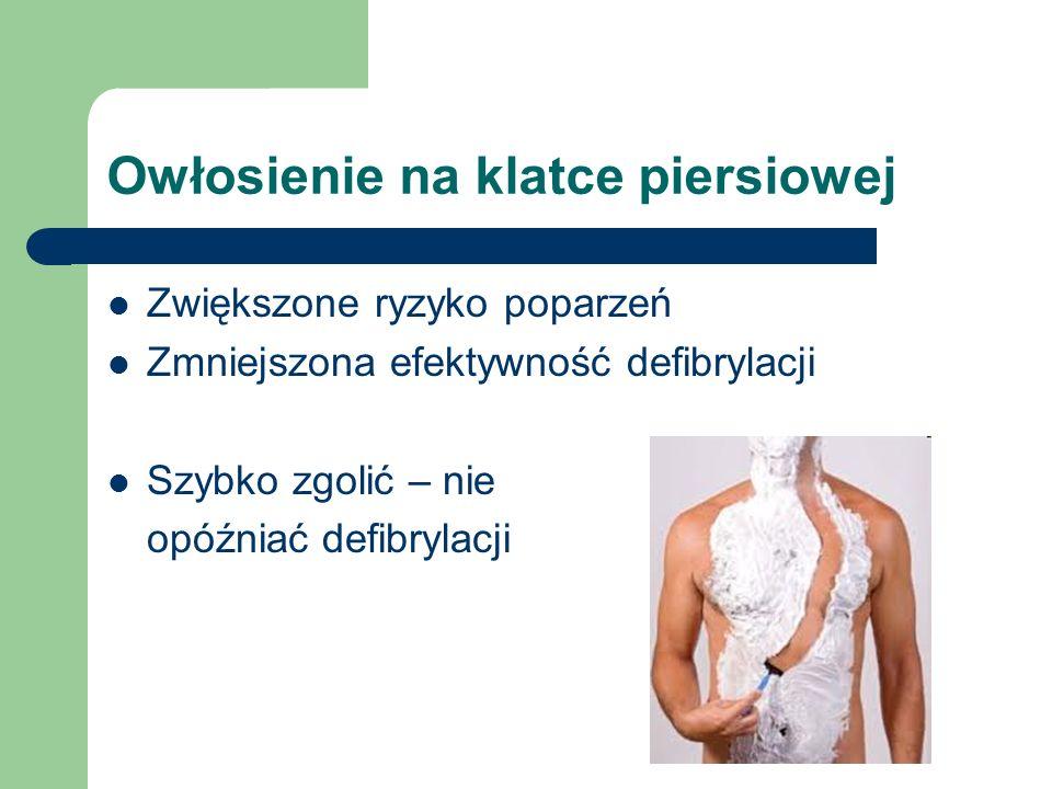Owłosienie na klatce piersiowej Zwiększone ryzyko poparzeń Zmniejszona efektywność defibrylacji Szybko zgolić – nie opóźniać defibrylacji