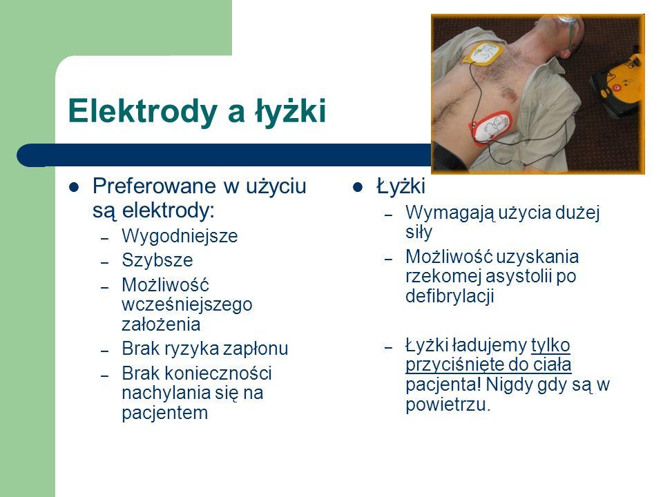 Elektrody a łyżki Preferowane w użyciu są elektrody: – Wygodniejsze – Szybsze – Możliwość wcześniejszego założenia – Brak ryzyka zapłonu – Brak konieczności nachylania się na pacjentem Łyżki – Wymagają użycia dużej siły – Możliwość uzyskania rzekomej asystolii po defibrylacji – Łyżki ładujemy tylko przyciśnięte do ciała pacjenta.