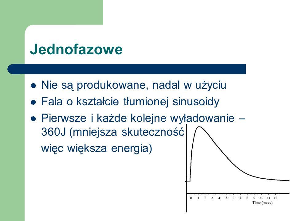 Jednofazowe Nie są produkowane, nadal w użyciu Fala o kształcie tłumionej sinusoidy Pierwsze i każde kolejne wyładowanie – 360J (mniejsza skuteczność, więc większa energia)