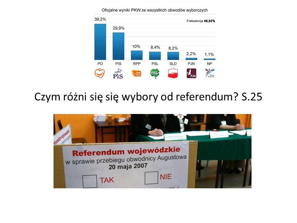 Czym różni się się wybory od referendum? S.25