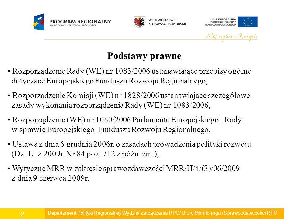 2 Podstawy prawne Rozporządzenie Rady (WE) nr 1083/2006 ustanawiające przepisy ogólne dotyczące Europejskiego Funduszu Rozwoju Regionalnego, Rozporząd
