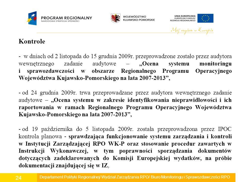 """Kontrole - w dniach od 2 listopada do 15 grudnia 2009r. przeprowadzone zostało przez audytora wewnętrznego zadanie audytowe – """"Ocena systemu monitorin"""