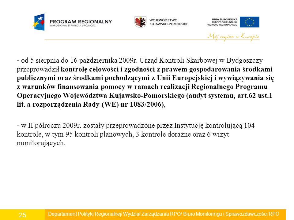 - od 5 sierpnia do 16 października 2009r. Urząd Kontroli Skarbowej w Bydgoszczy przeprowadził kontrolę celowości i zgodności z prawem gospodarowania ś