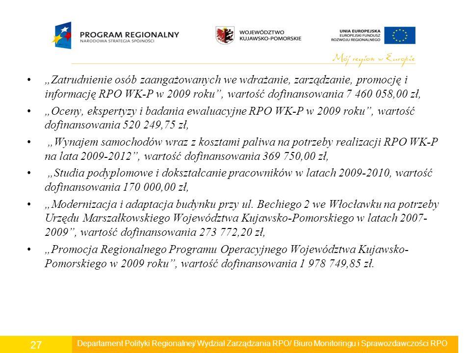 """""""Zatrudnienie osób zaangażowanych we wdrażanie, zarządzanie, promocję i informację RPO WK-P w 2009 roku"""", wartość dofinansowania 7 460 058,00 zł, """"Oce"""