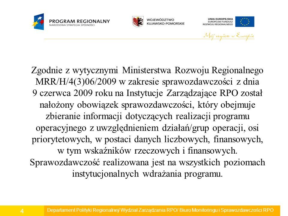 Departament Polityki Regionalnej/ Wydział Zarządzania RPO/ Biuro Monitoringu i Sprawozdawczości RPO 4 Zgodnie z wytycznymi Ministerstwa Rozwoju Region